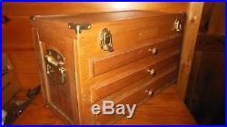 Vintage Wooden Machinist / Toolbox / Jewelry Box with 3 Drawers