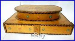 Vintage Wooden Makeup Box Jewelry Old Hand Carved Inside Mirror Beautiful large