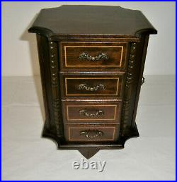 Vintage Wooden Revolving Music Jewelry Box Plays Theme from Love Story JAPAN