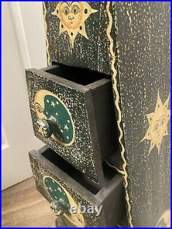 Vintage Wooden Sun Moon Stars Triangle Pyramid Altar Storage Box With Drawers