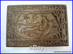Vintage antique decorative hand carved wooden Box wood Jewelry Box