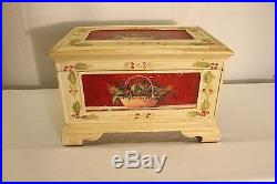 Vintage hand painted french style wood jewelry box or mini blanket chest