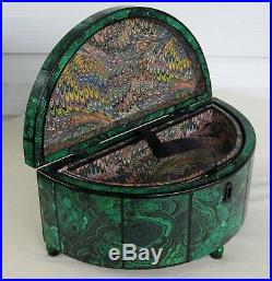Vintage jewelry box faux malachite marbled paper lacquered French Russian empire