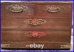 Vintage solid wooden large jewelry box