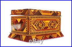 Vintage wooden Jewelry Box withBeautiful Geometrical Design inlaid