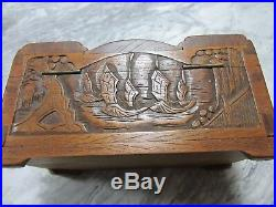 Vintage wooden deeply carved jewelry/treasure box exceptionally well constructed