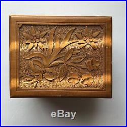 Vtg 1930s Cuendet Wooden Music Jewelry Box Switzerland Musical Hand Carve Wood