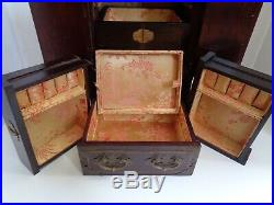 Vtg George Zee Chinese Hong Kong Carved Wooden Brass Jewelry Box Geisha Lacquer