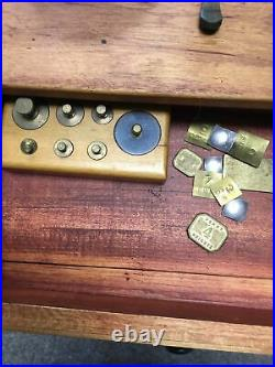 Vtg Gold/jewelry Scales Wooden Box