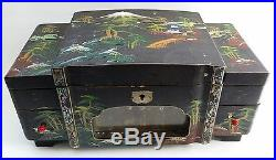 Vtg Retro Illuminated Japanese Lacquered Musical Jewellery Chest Box & Drawers