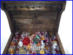 Wooden Pirate Treasure Chest Jewelry Box With Light