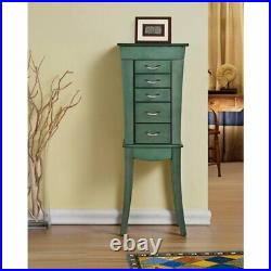 W Unlimited Paris 5 Drawer Wooden Jewelry Armoire Cabinet in Sea Green