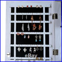 Wall Mount Mirror Jewelry Cabinet Armoire Jewelry Box Hang over the Door, Wood
