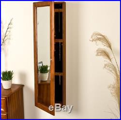 Wall Mounted Mirror With Jewelry Storage Wood Cabinet Organizer Lockable Armoire