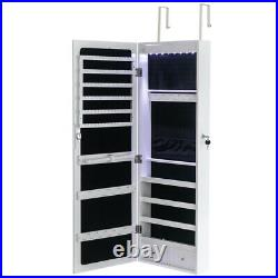 Wall Mounted Mirrored Jewelry Cabinet Wooden Storage Organizer Lockable Armoire