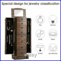 Walnut Wooden Storage Armoire Free Standing Retro Jewellery Cabinet Ring Stand