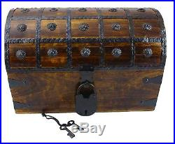 WellPackBox Wooden Pirate Treasure Chest Box With Antique Style Lock And