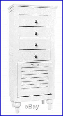 White Jewelry Armoire Display Storage Chest, Ring Necklace Organizer Box, Shoes