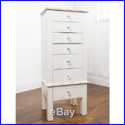 White Jewelry Armoire Wood Storage Organizer Cabinet Stand Box Mirror Bedroom