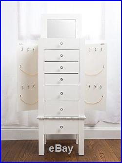 White Jewelry Cabinet Box Armoire with Mirror Wood Stand Storage Chest