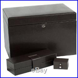 Wolf Designs wooden London Collection LARGE Jewelry Box Cocoa drawers lock NEW
