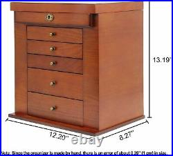 Women Large Wooden Ring Necklace Jewelry Box Armoire Cabinet Lock 6 Tier Mirror