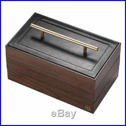 Womens Wooden Jewelry Box Handle Three-layer Storage Rings Necklace Organizer