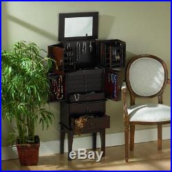 Wood Felt Lined Cherry Jewelry Armoire Cabinet Storage Chest Organizer with Mirror