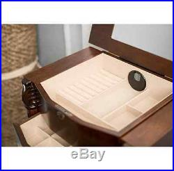 Wood Jewelry Armoire Box Storage Chest Bedroom Furniture Victorian Necklace Ring