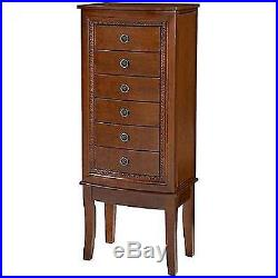 Wood Jewelry Cabinet Armoire Box Stand Chest Storage Organizer Necklace NEW