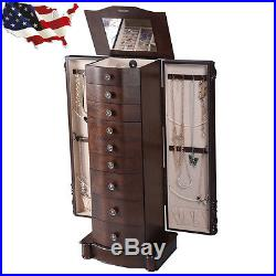 Wood Jewelry Cabinet Armoire Box Storage Chest Stand Necklace Watches Organizer