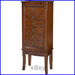 Wood Jewelry Cabinet Armoire Box Storage Chest Stand Organizer Necklace NEW