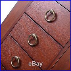 Wood Jewelry Cabinet Armoire Storage Box Chest Stand Necklace Organizer Drawers