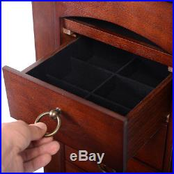 Wood Jewelry Cabinet Armoire Storage Box Chest Stand Organizer Necklace