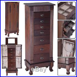 Wood Jewelry Cabinet Vintage Armoire Box Storage Chest Necklace Stand Organizer