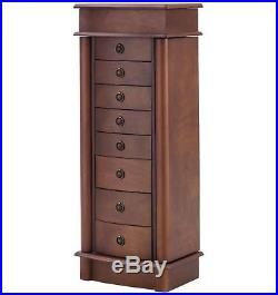 Wood Jewelry Chest Cabinet Armoire Classic Woman Mirror Drawers Organizer Case