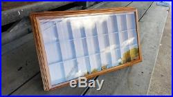 Wooden 24 Compartment Zippo Lighters Display Case Jewelry Crystal Shadow Box