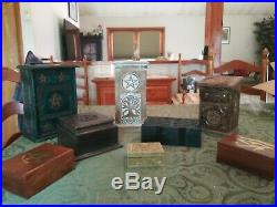 Wooden Box Altar Stash Jewelry Wicca Pagan Metaphysical Lot of 8