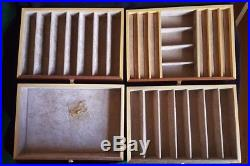 Wooden Burl Wood Jewelry Box with 4 Trays, Made in Italy, likely Agresti