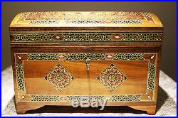 Wooden Chest, Jewellery Box, handmade with mother-of-pearl, Damaskunst K 3-6-42