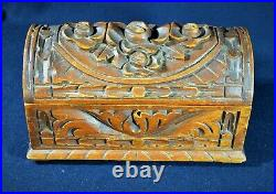 Wooden Chest / Jewelry Box with Hand Carved Roses Vintage Black Forest Style
