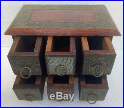 Wooden Drawers Old Hand Made Brass Fitted 6 Drawers Trinket Jewelry Box Home Art