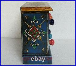 Wooden Handcrafted Painted Ceramic Small Chest Of 6 Drawer Jewelry Box