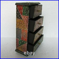 Wooden Handcrafted Painted Chest of 4 Drawer Jewelry Box