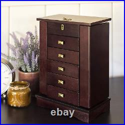 Wooden Jewellery Box Compartments Large Drawers Wood Cabinet Vintage Mirror