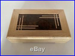 Wooden Jewellery Box Maple with Queensland Walnut panel lid, maple inlay strip