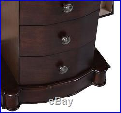 Wooden Jewellery Box Vintage Storage Cabinet Necklace Chest Walnut Finish NEW