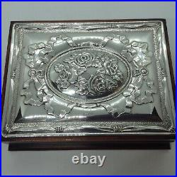 Wooden Jewellery Box With Sterling Silver Sheffield 1994 Top