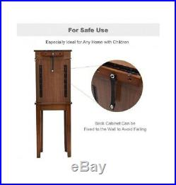 Wooden Jewelry Armoire Storage Cabinet with 5 Drawers 2 Necklace Doors Mirror Top