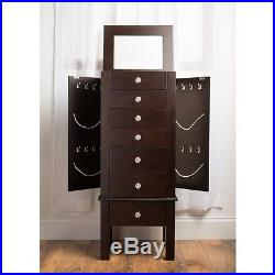 Wooden Jewelry Armoire Wood Modern Chest Box Storage Stand Drawers Organizer